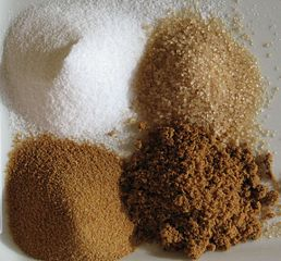 Sugars from cane.  Public Domain. Wikimedia Commons.
