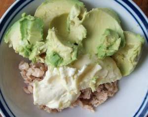 Canned salmon, avocado oil mayo, and fresh avocado. Photo by Jim Anderson.
