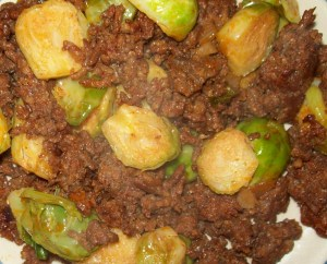 Chorizo with onion and Brussels sprouts
