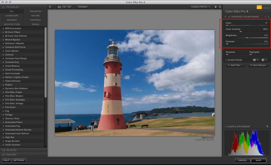 Color Efex Pro Contrast Color Range