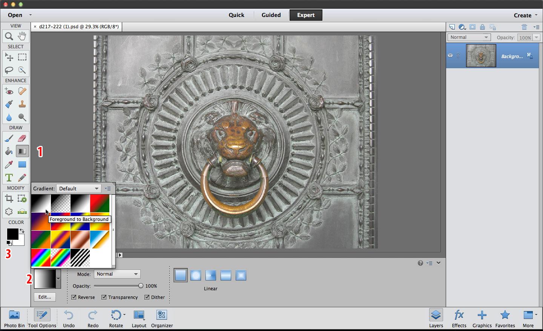 Photoshop Elements Gradient tool Color Burn mode