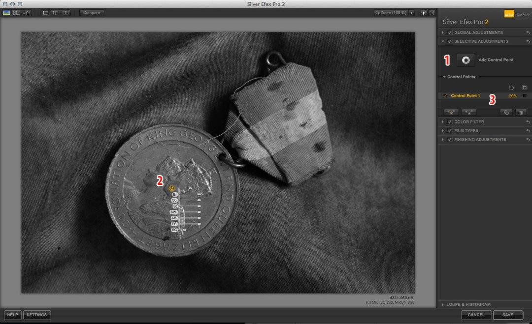Nik Software Silver Efex Pro control points