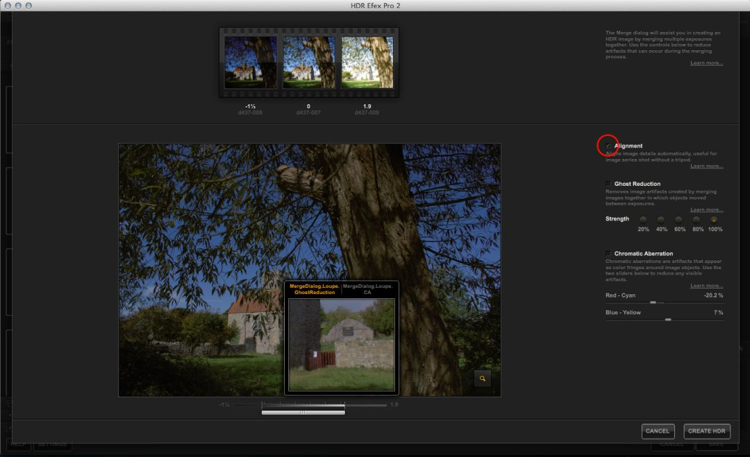 HDR Efex Pro merge tools