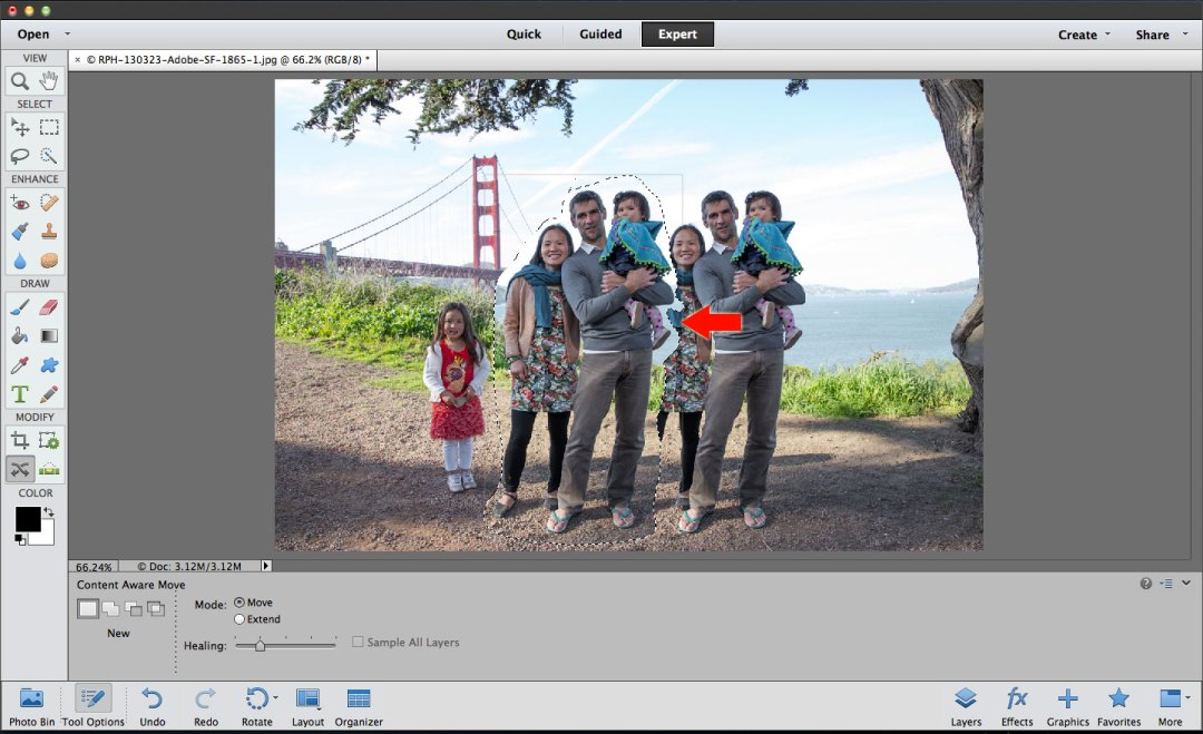 Photoshop Elements content aware move tool