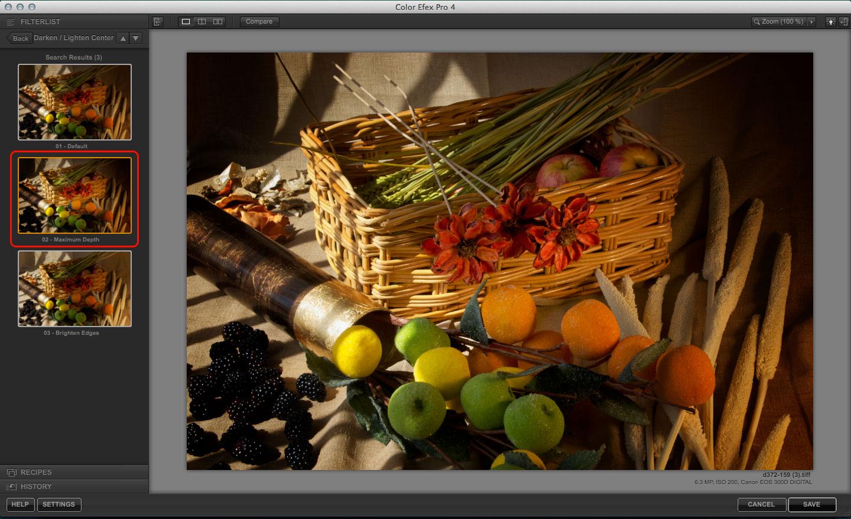 Color Efex Pro Darken/Lighten Center filter