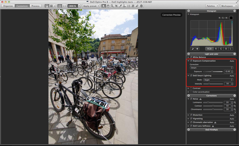DxO Optics Pro 9 highlight recovery