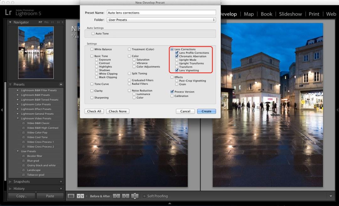 Lightroom import settings