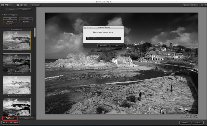 Silver Efex Pro Sensitivity settings