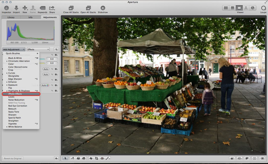 How to use iPhoto effects in Aperture