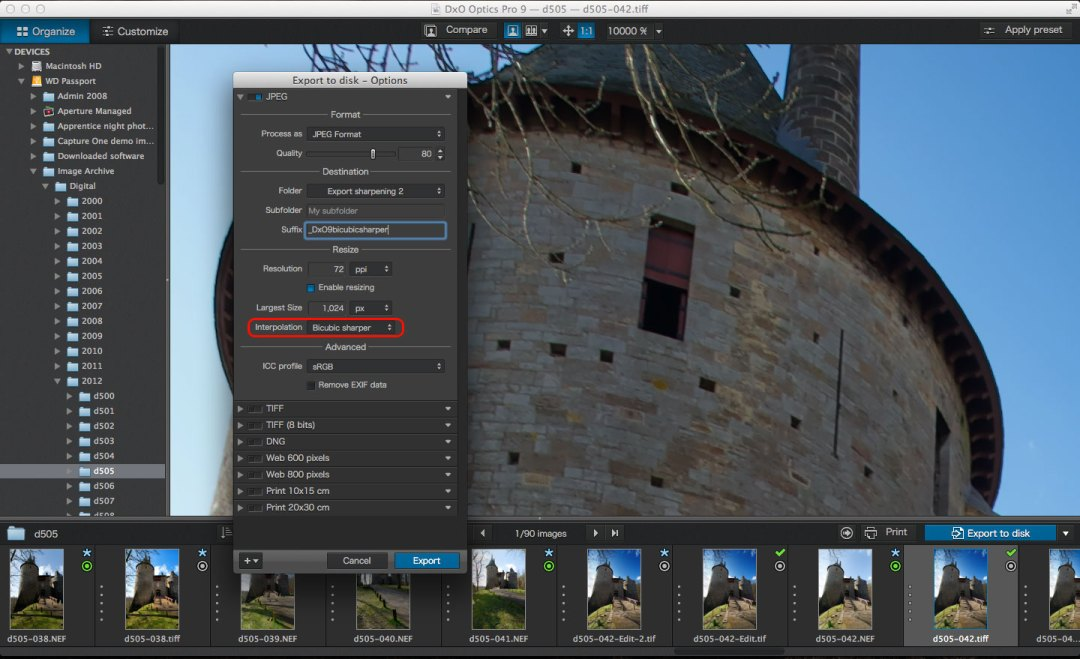 Export sharpening with DxO Optics Pro 9 and Capture One Pro 7
