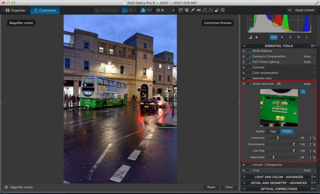 DxO Optics Pro PRIME noise reduction