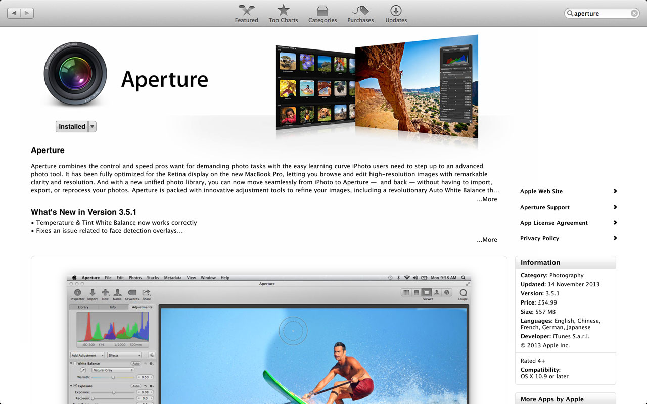 Aperture in Apple App Store