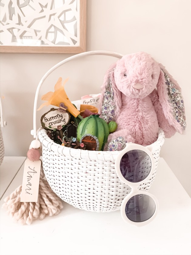 Easter Basket with Pink Bunny, sunglasses, and tassle