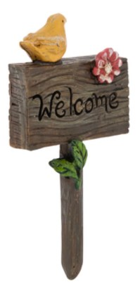 Welcome sign with yellow bird and pink flower