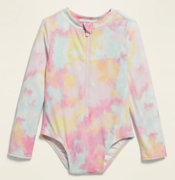 Tie Die Rash Guard Swimsuit