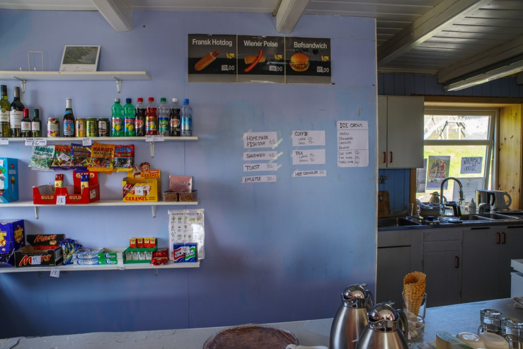 Cafe counter in Mykines village