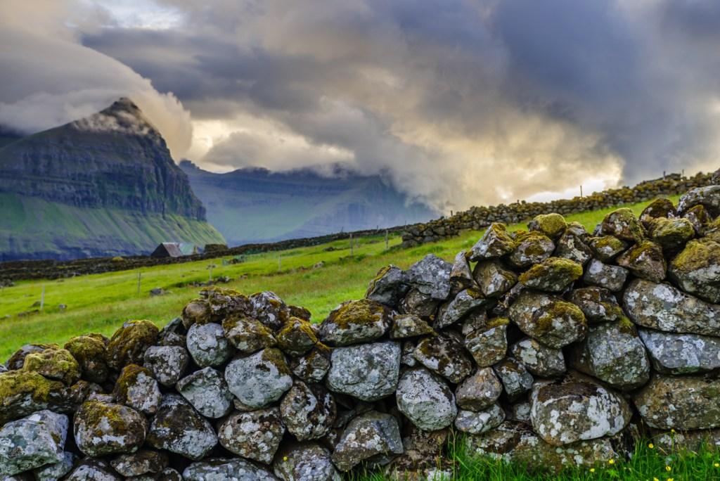 A stone wall in Viðareiði