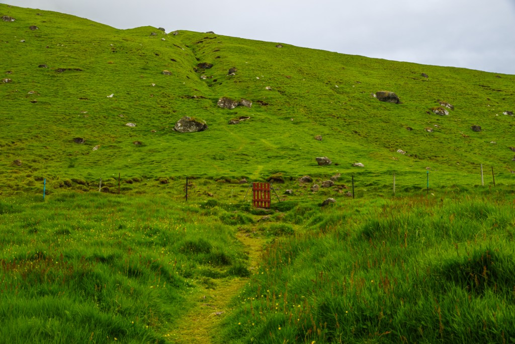 Red gate -- start of the Kallur lighthouse hike