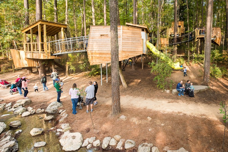 A network of treehouses in a wooded setting.