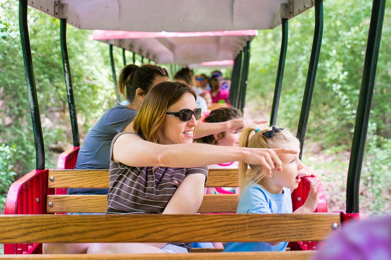 Woman and child ride open air train and point at something out of view.