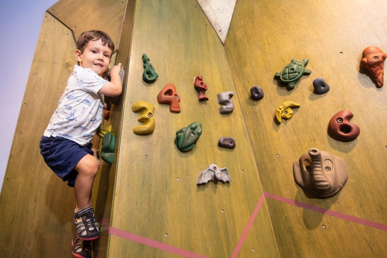 A young boy climbs a small wall with colorful handholds.