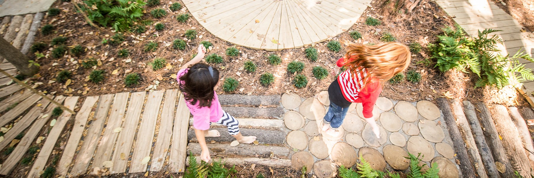 Kids walking along pathway