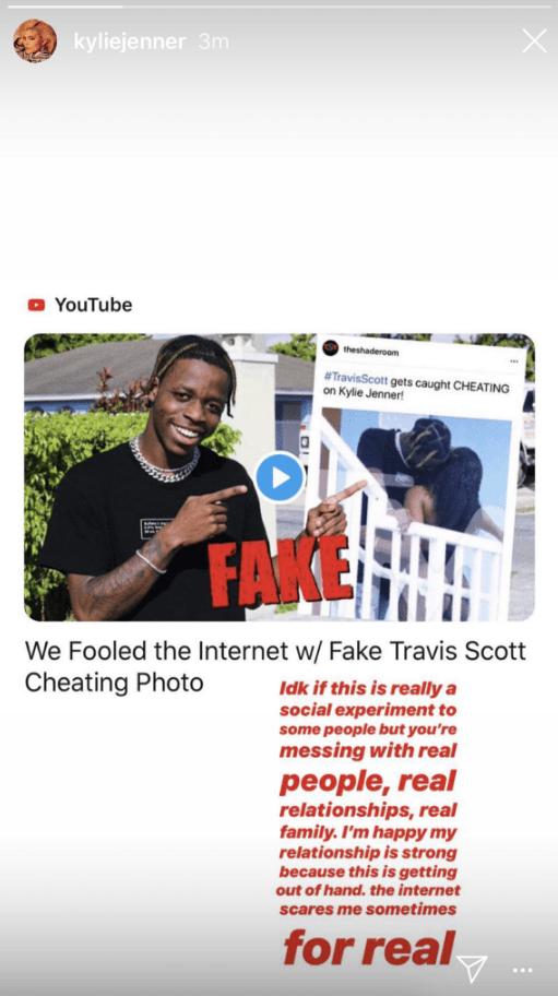 Kylie Jenner responds to Travis Scott fake cheating photo