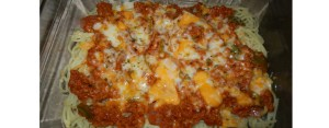 Spaghetti Minced Meat, Sauce and Cheese