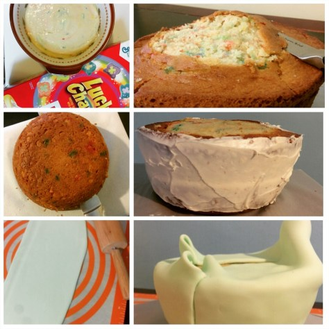 The first half of making an anti-gravity cake, top to bottom. (Photos: Candace Braun Davison)