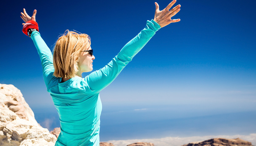 Hiking Success, Woman On Trail In Mountains