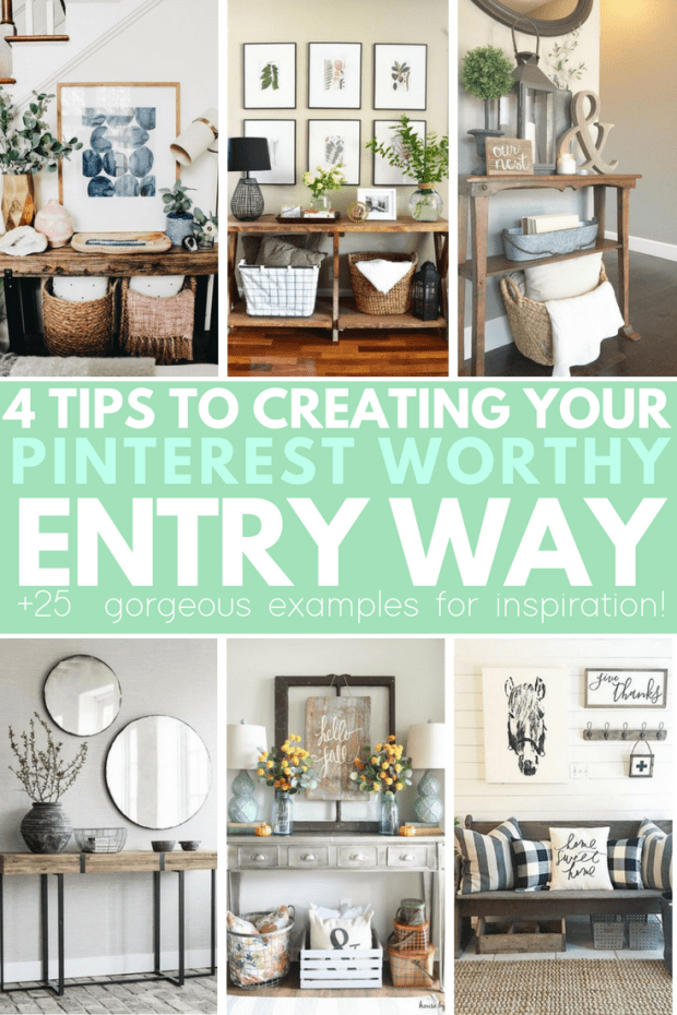 4 steps to a Pin worthy entry way! Great decor ideas for any size entry way