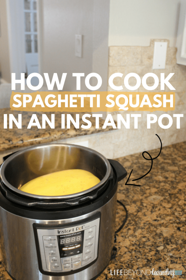 How to cook spaghetti squash in an Instant Pot! An easy spaghetti squash recipe that is super quick and can easily be made in your pressure cooker! Great dinner recipe for any night of the week! Always makes a ton for leftovers too!
