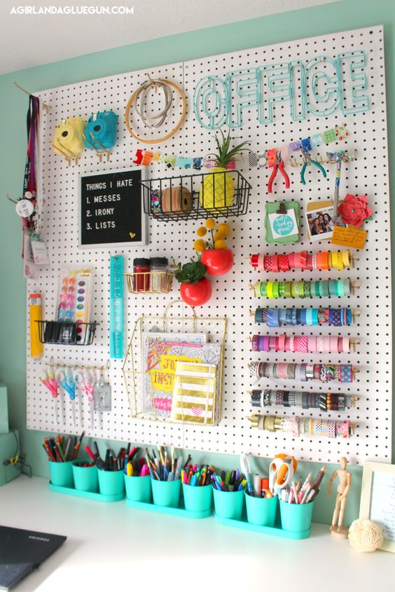 How to organize your craft room using PEG BOARD!