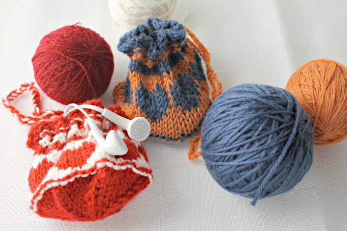 Cute and Quick Colorwork Heart Drawstring Bags ~ Perfect for Small Items ~ Free Knit Pattern and Chart ~ Life Beyond the Kitchen