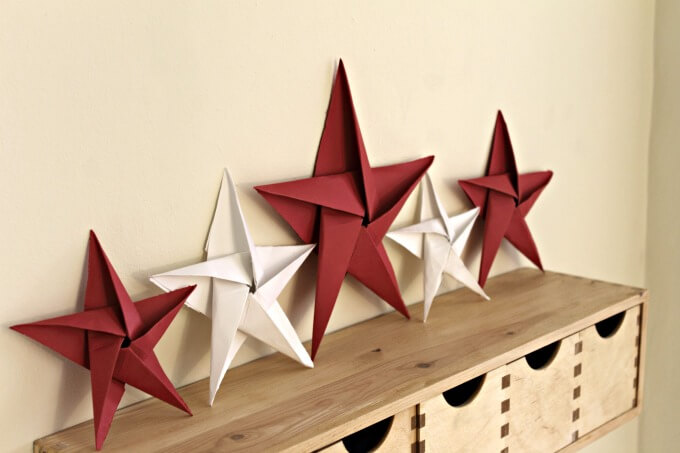 Folded Paper Stars for a Patriotic Display ~ Creative Craft Bloggers Challenge ~ Life Beyond the Kitchen