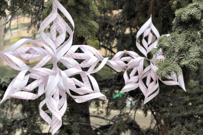 Easy to make 3D Paper Snowflakes from Recycled Paper ~ Life Beyond the Kitchen