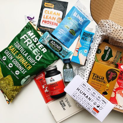 February box of gifts for vegans