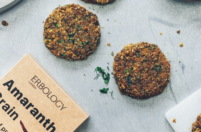 Gluten free amaranth and green lentil patties on table