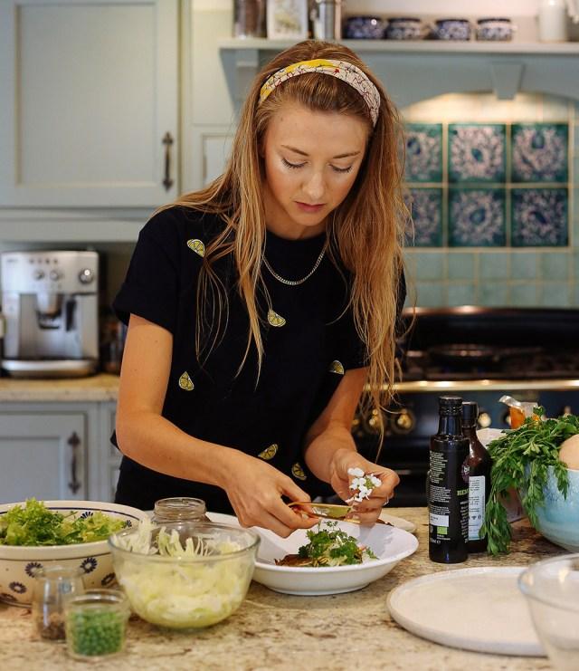 Lauren Lovatt makes healthy vegan food in kitchen