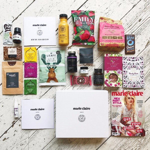 Lifebox lined up with Marie Claire and vegan snacks