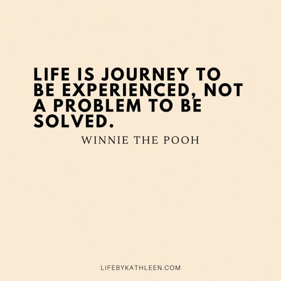 Life is a journey to be experienced , not a problem to be solves - Winnie the Pooh