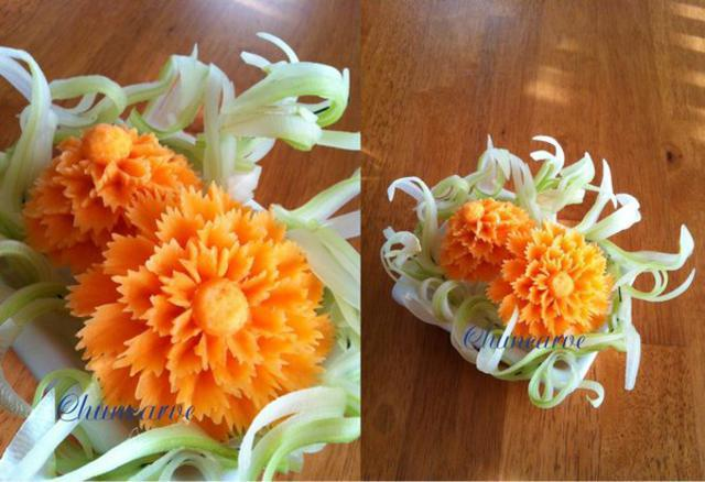 Carrot flower carving patterns and ideas by warunee tintamusik