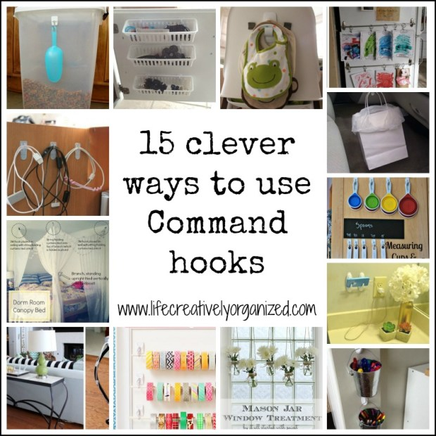 Command hooks are so versatile! Here are 15 awesome ways I bet you haven't thought of to use them all over the house to hang, hold & organize stuff!