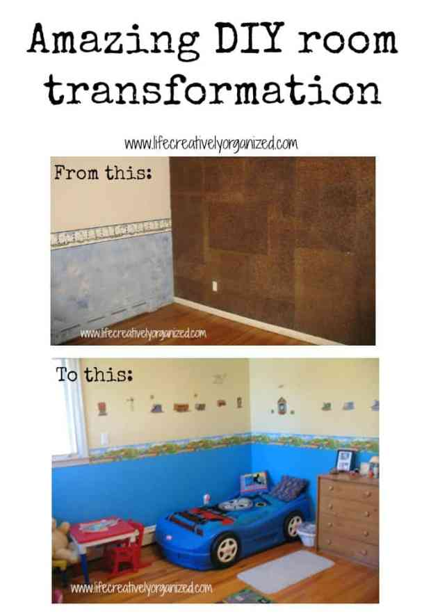 Amazing DIY room transformation by removing outdated cork from wall. Just removing the 70's cork panels and re-painting gave this bedroom a fresh new look.