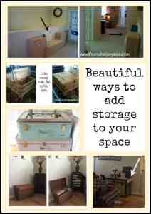 Out of storage space but don't want boring plastic bins? Here are some beautiful ways to add more storage in your home using re-purposed items.