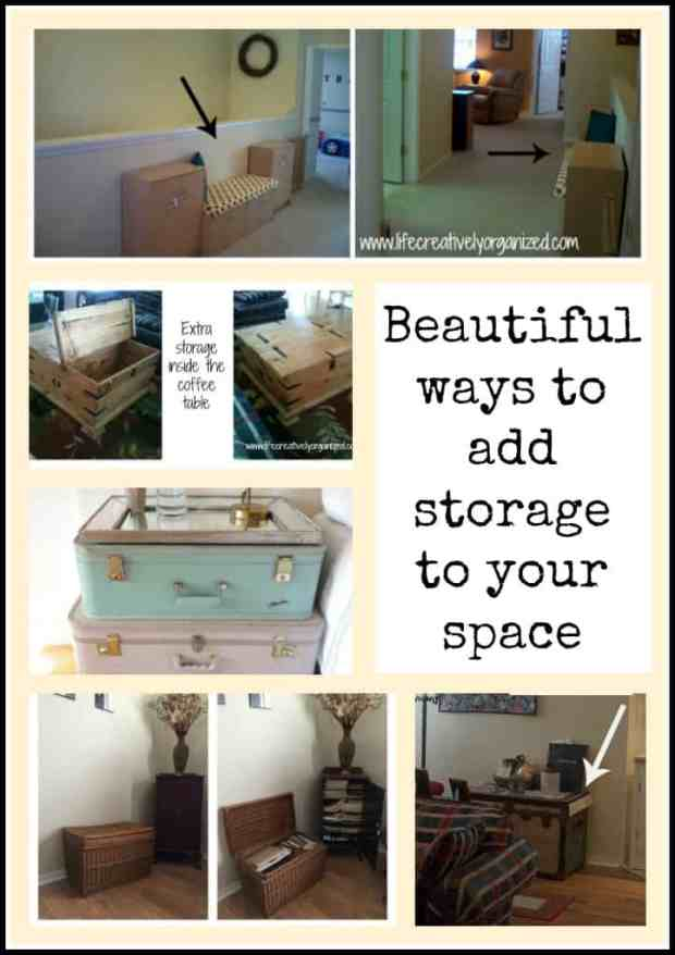 Out of storage space but don't want boring plastic bins? Here are some beautiful ways to add more storage in your home using re-purposed items. www.lifecreativelyorganized.com