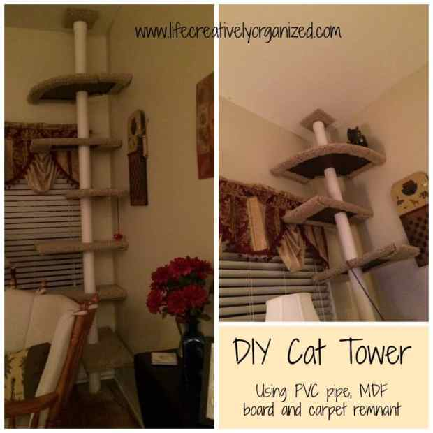 Cats are people, too! A DIY cat tower made from PVC pipe, MDF, and carpet remnants
