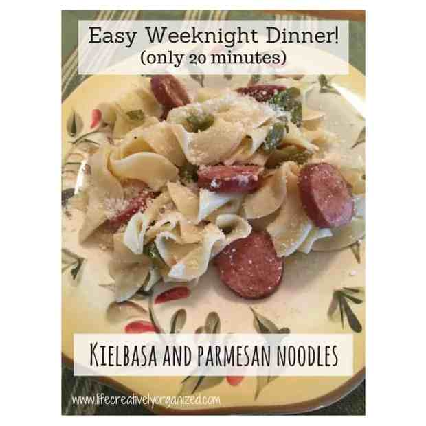 Turkey kielbasa sauteed with peppers and onions and mixed with buttery, cheesy noodles!
