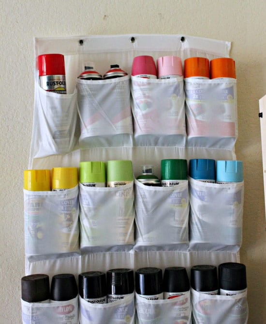 25 ingenious ways to use shoe bags (but not for shoes)! Store cans of spray paint!