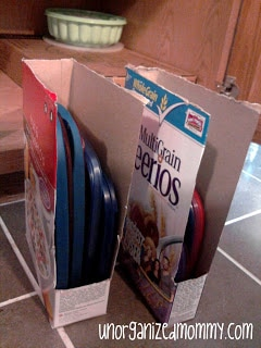 Use a cereal box to neatly store plastic ware lids.
